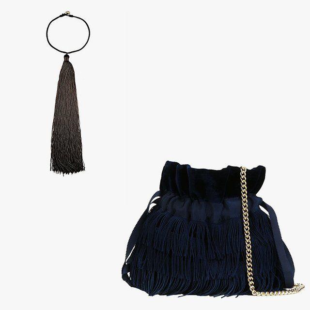 Saint Laurent Lolita tassel choker, $495, barneys.com; Bionda Castana Estella clutch, $331, farfetch.com