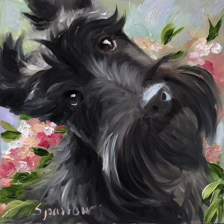 """SPARROW Scottish Terrier Scottie dog Miniature art painting """"Serendipity"""" Flower in Art, Direct from the Artist, Paintings 