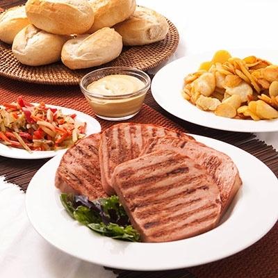 """$33 """"Dinner's Ready"""" in a Box for Father's Day:  Brinker Brötchen, Siegi's Fleischkäse, Bratkartoffeln, Hengstenberg medium hot mustard, Hengstenberg Puszta Salad"""