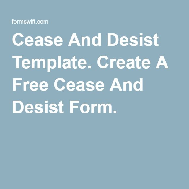 Cease And Desist Template. Create A Free Cease And Desist Form.