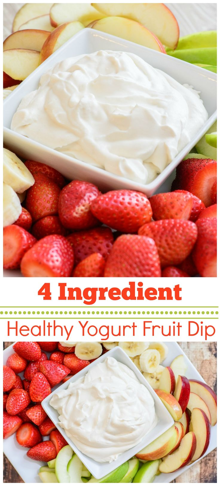 Healthy 4 Ingredient Yogurt Fruit Dip. This healthy and delicious recipe is the perfect compliment to any fruit plate. Made with 3 simple and pure ingredients this fruit dip recipe is sure to be a hit no matter where you serve it!