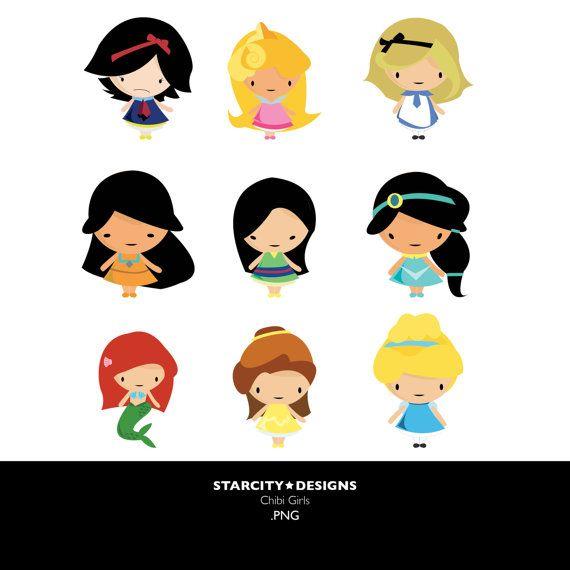 Chibi Disney Girls Clip Art- Clipart, Vector Art, Graphics for ...