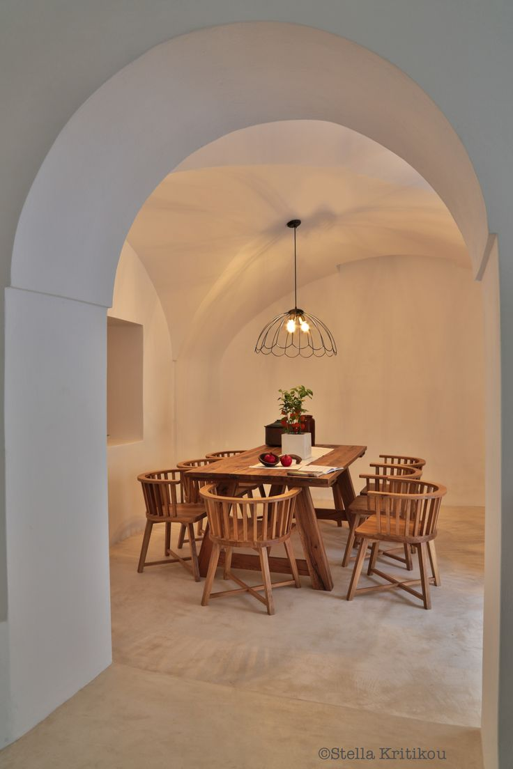 dining room, kitchen, villa, mesaria, santorini, traditional modern design