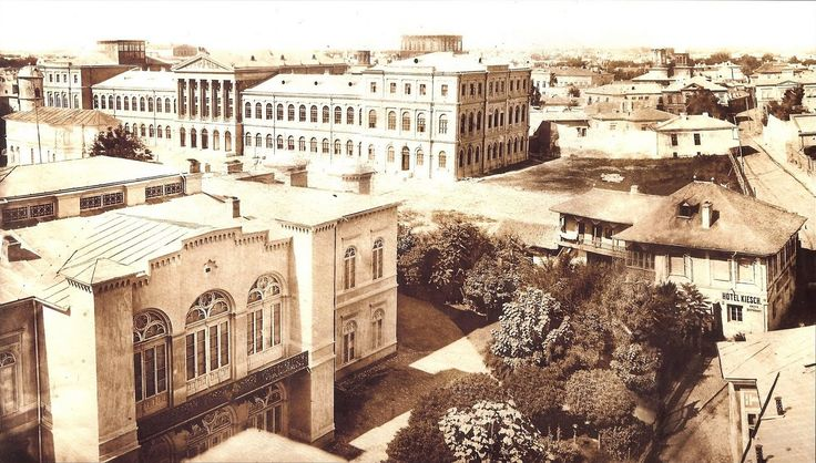 Carol Popp de Szathmary - Royal Academy of Saint Sava (University of Bucharest) in 1864 - the great building from the left. In the left foreground we see Sutu palace, now the museum of history of Bucharest.