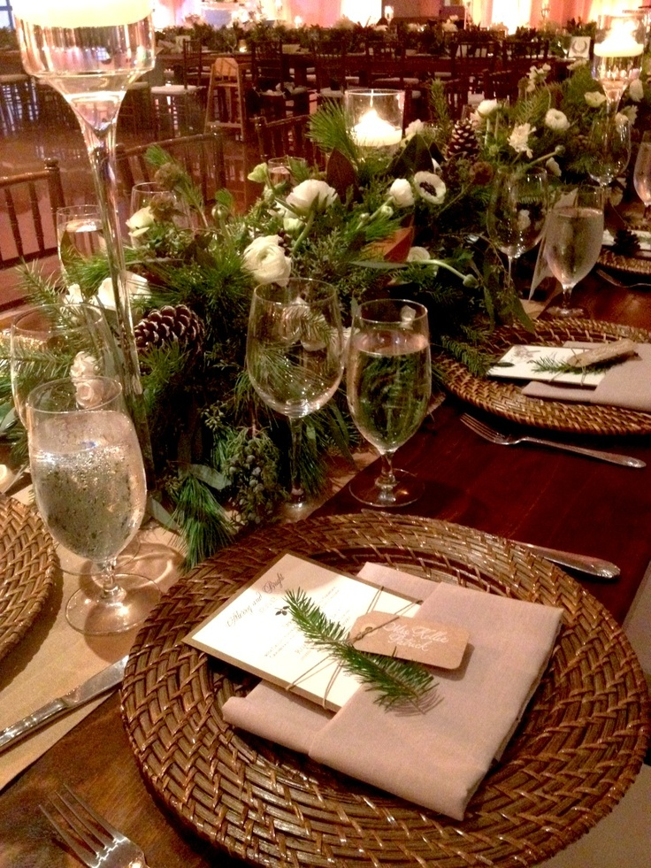 Head table? Love the long full feeling. Can't be this wide however. I would love to incorporate this type of greenery. Just red flowers, berries, etc. to match bouquets.