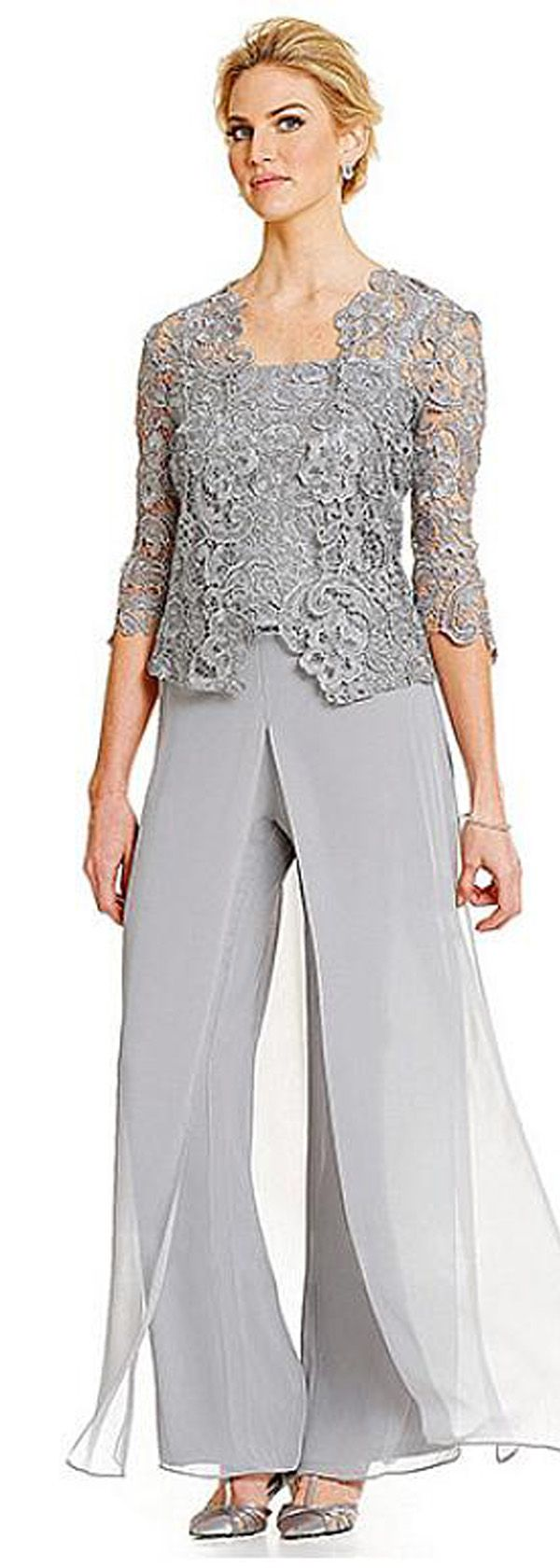 Fantastic Pant Suits Chiffon & Lace Spaghetti Straps Neckline Full-length Mother Of The Bridal Dresses
