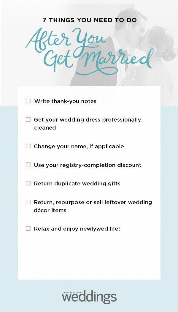 You Did It Now That The Wedding Is Over It S Time For Your After Wedding To Do List Now That You Re A Mrs Be In 2020 Wedding Checklist Wedding To Do