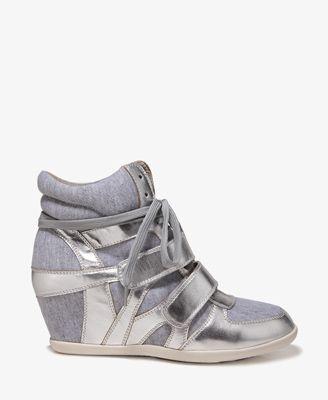 Hidden Wedge Sneakers #Forever21#SweetStreet #Metallic