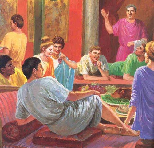 Uczta rzymska była wielką ceremonią. Podczas uczty człowiek napawał się swoją pozycją i pokazywał to otwarcie wszystkim wokół. Był to rodzaj autopromocji, aby olśnić znajomych i sąsiadów.