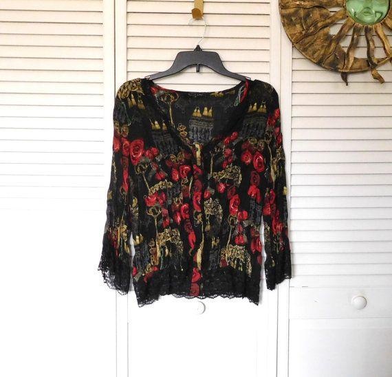 Bohemian Blouse Black Lace Indie Style Size Large by LandofBridget