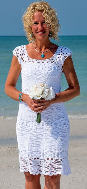 white crochet dress by dosiak on Etsy