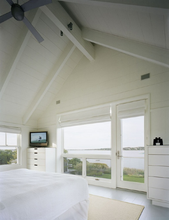 Painted white wood beams and plank ceiling the color - Painting wood beams on ceiling ...