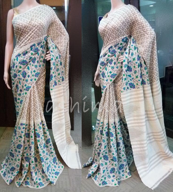 Code:1607161 - Printed Tussar silk Saree, Price INR:9520/-