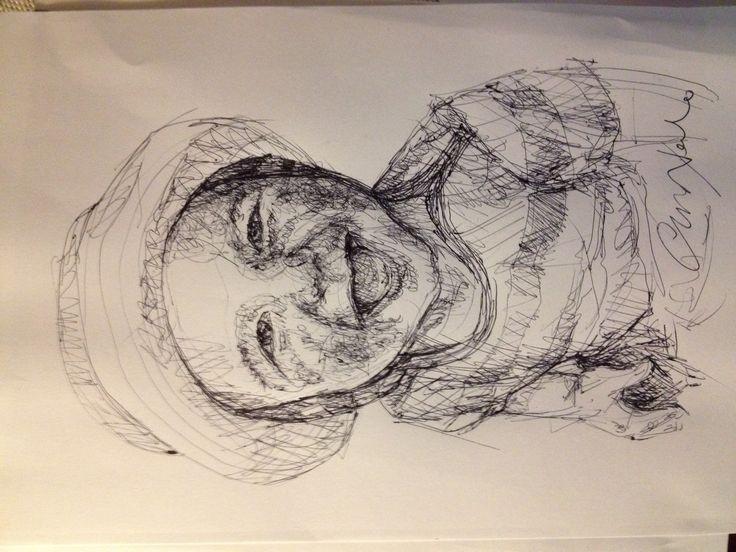 Orlando - black pen drawing by Chiara Nardo