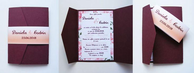 Invitatie de nunta in Rama Florala  modele 1A - 4A Coperta Burgundi