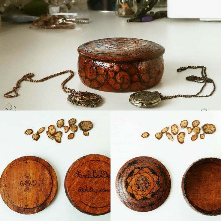 Pyrography art on wooden box for jewelries