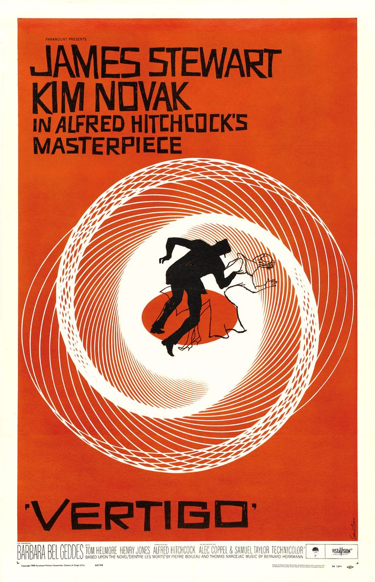 Vertigo movie poster: Poster Design, Saul Bass, Graphics Design, Alfred Hitchcock, Movies Poster, Classic Movies, Favorit Movies, James Stewart, Best Movies