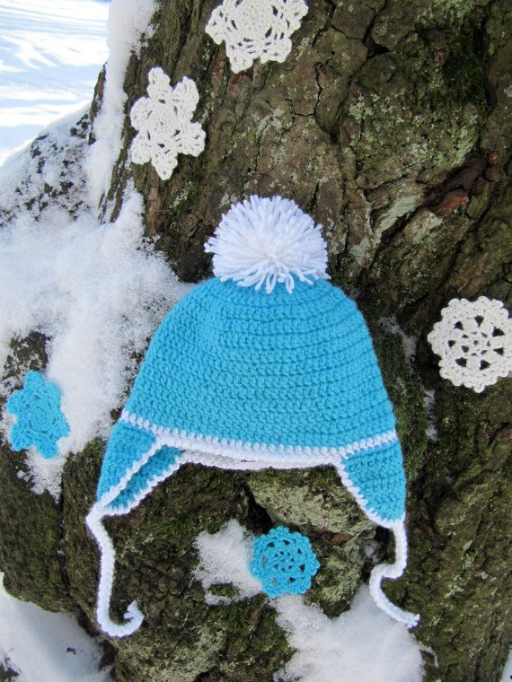 Blue hat with pompon for boy , children's cap, baby hat , for children , knitted hat