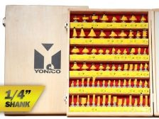 "Router Bit Sets :: Large Sets :: 50 Bits Professional Quality Router Bit Set C3 Carbide 1/4"" Shank Yonico 17504"