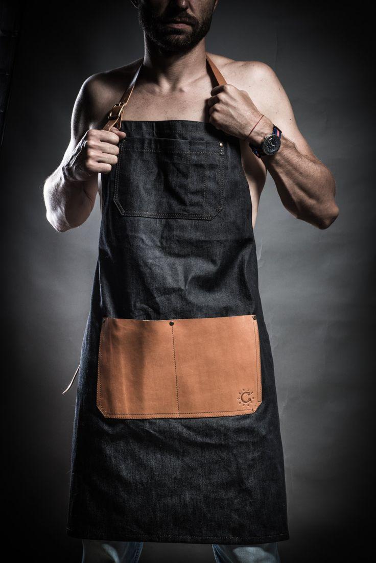 Denim apron with leather pockets and Leather adjustable belts by Kruk Garage by KrukGarage on Etsy