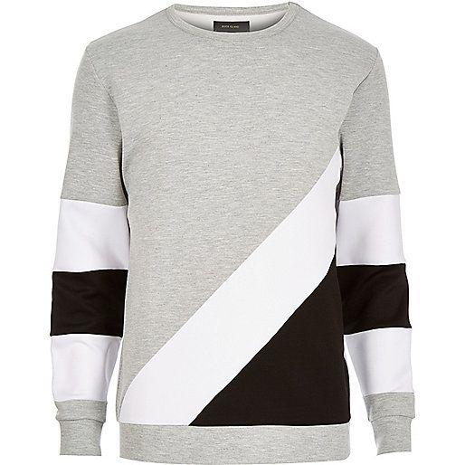 Grey colour block panel sweatshirt - sweatshirts - hoodies / sweatshirts - men