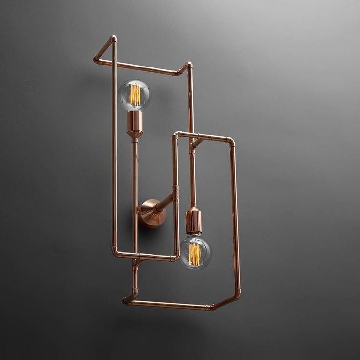 Stijlo - a wall lamp with a real style. The lost piece of industrial modernism. The finishing touch to your loft apartment a real sculpture for your wall that wont be unnoticed. #industrial #sconce #wall #walllamp #industrial #sculpture #instalation #bulbs #edisonbulbs #retrobulbs #retro #stijlo #destij #zapalgo #copper #pipe #modernism #home #homeinterior #interior #wall #brutalism