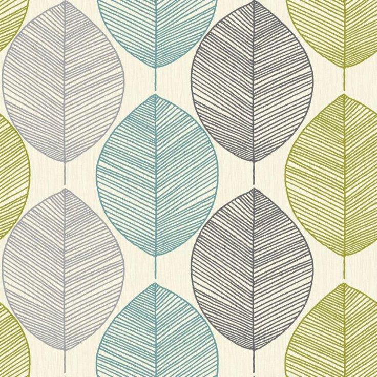Arthouse Opera Retro Leaf TealGreen Wallpaper 408207