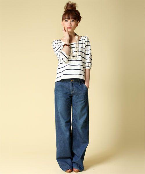 カジュアルに着るならデニム♡ロング丈のボトムスのコーデ♡スタイル・ファッションの参考に♪ もっと見る