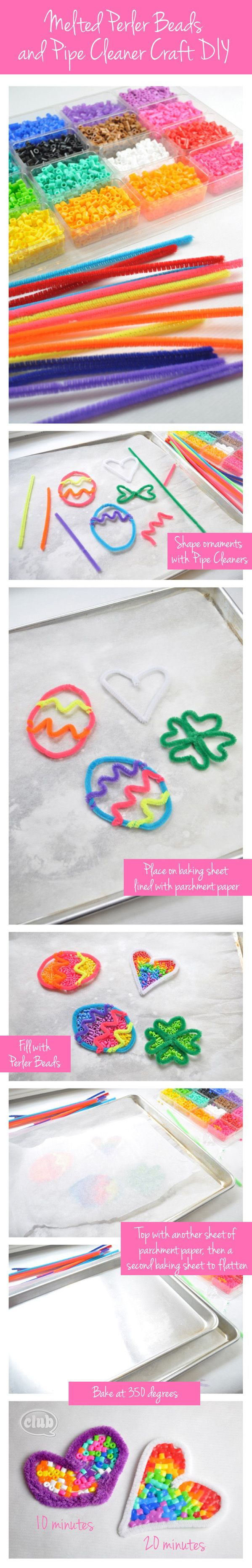 Melted perler bead and pipe cleaner ornament DIY - shape your own designs, fill with beads and melt. Love the colors!