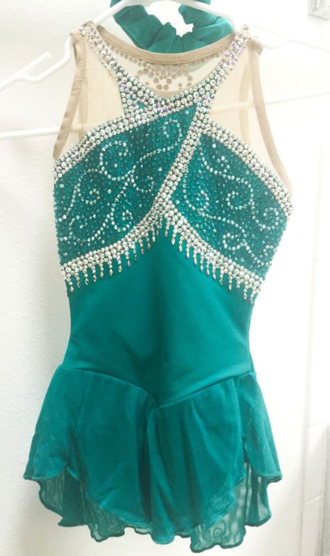 Brad Griffies Elite Figure Skating Competition Dress - Jade - Girls Small size 8