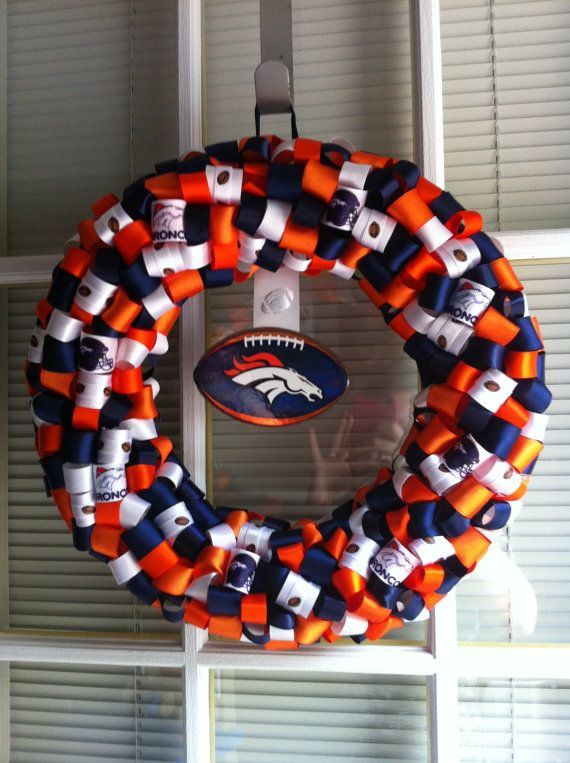 Denver Bronco's Ribbon Wreath by KKsHandmadeWreaths on Etsy, $25.00