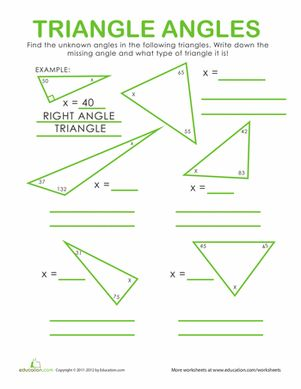 Middle School Geometry Worksheets: Triangle Angles