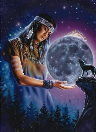 Indian & A Wolf Howling At The Moon Photo by TheCougar76 ...