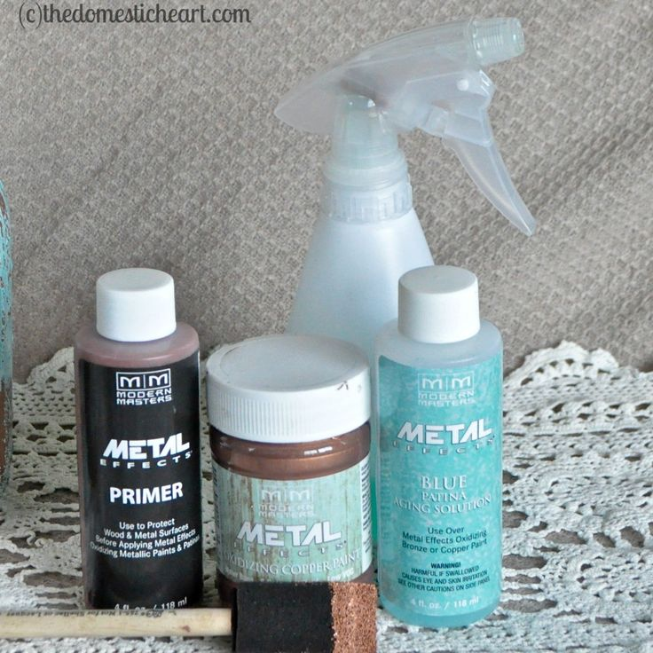 HOW TO GET COPPER-BLUE PATINA {on almost anything} - 2 coats of Modern Masters Primer, 1 coat of MM Copper Paint, when dry apply a 2nd coat of MM Copper Paint, then immediately after Spray, Brush or Sponge on the Aging Solution.