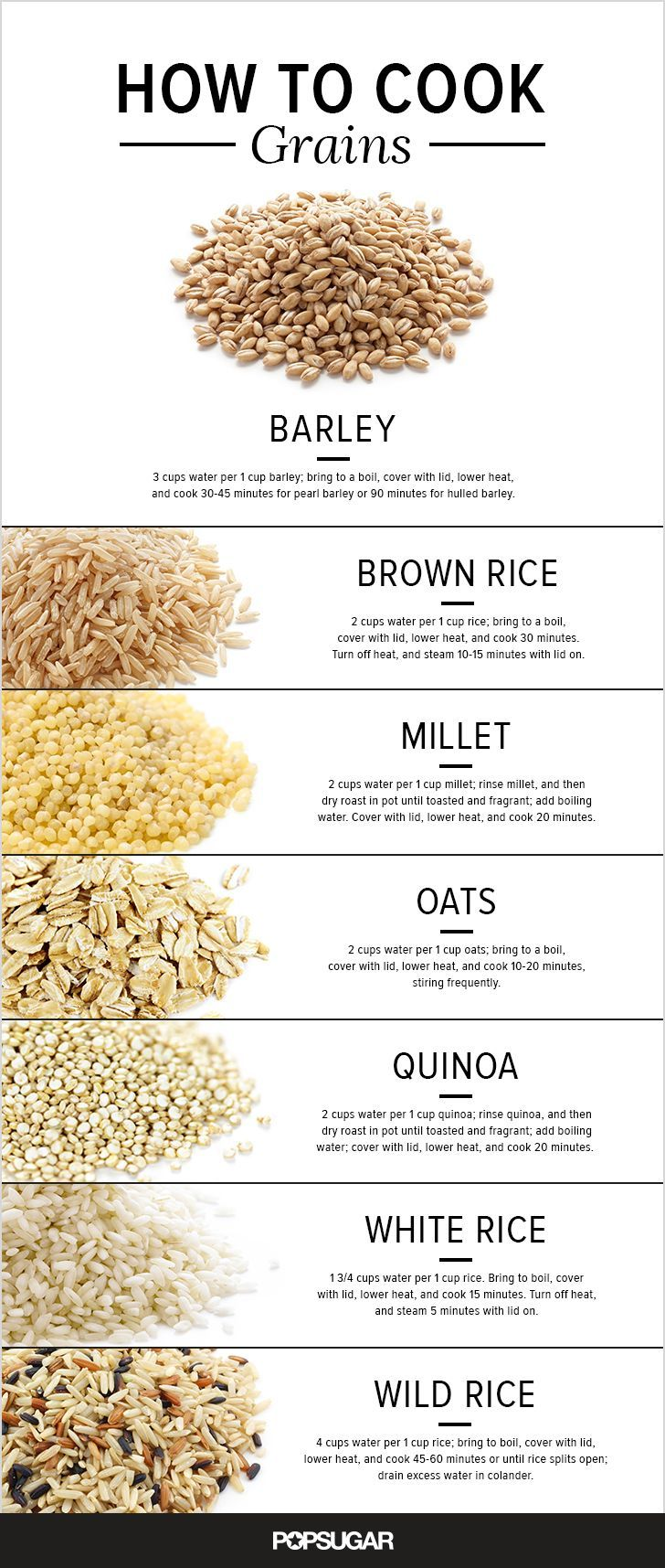 A Guide to Cooking Everything From Oats to Rice by popsugar #Infographic #Cooking_Grains