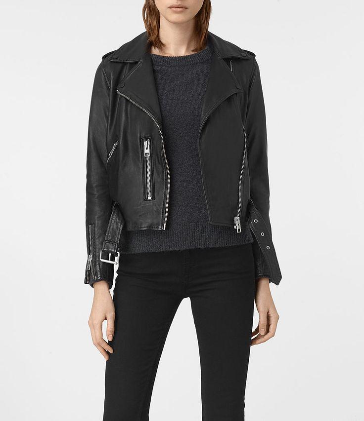 Women's Balfern Leather Biker Jacket (Black) -