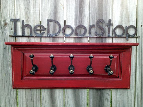 Decorative Wall Shelves With Doors : Red coat rack with shelf and decorative ceramic knob hooks