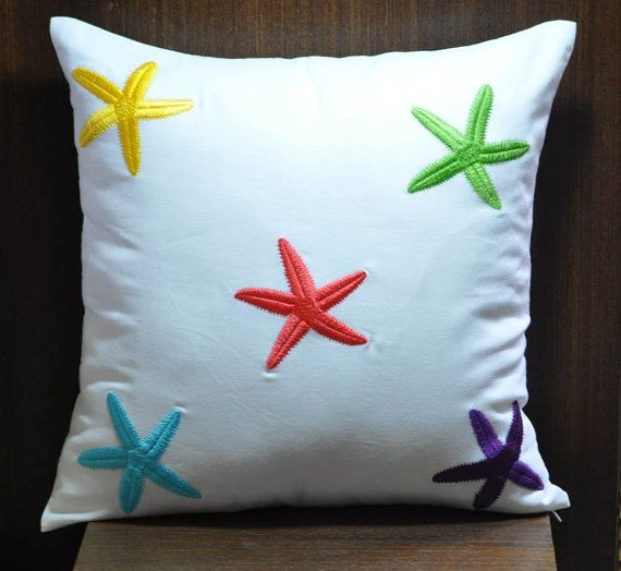 Starfish Decorative Pillow , Throw Pillow, Couch Pillow, White Linen,  Colorful Starfish Embroidery