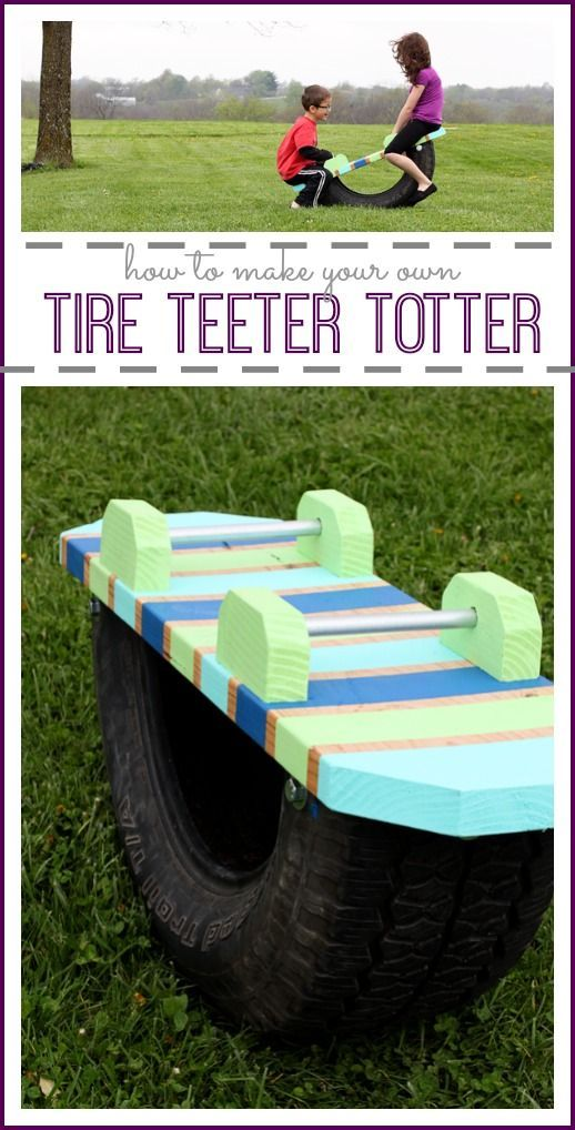 How to make a teeter totter using an old tire! - - Sugar Bee Crafts