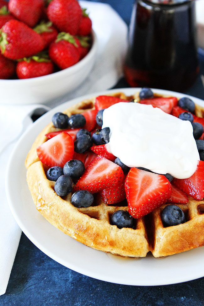Easy Belgian Waffle Recipe with strawberries and whipped cream-with buttermilk!