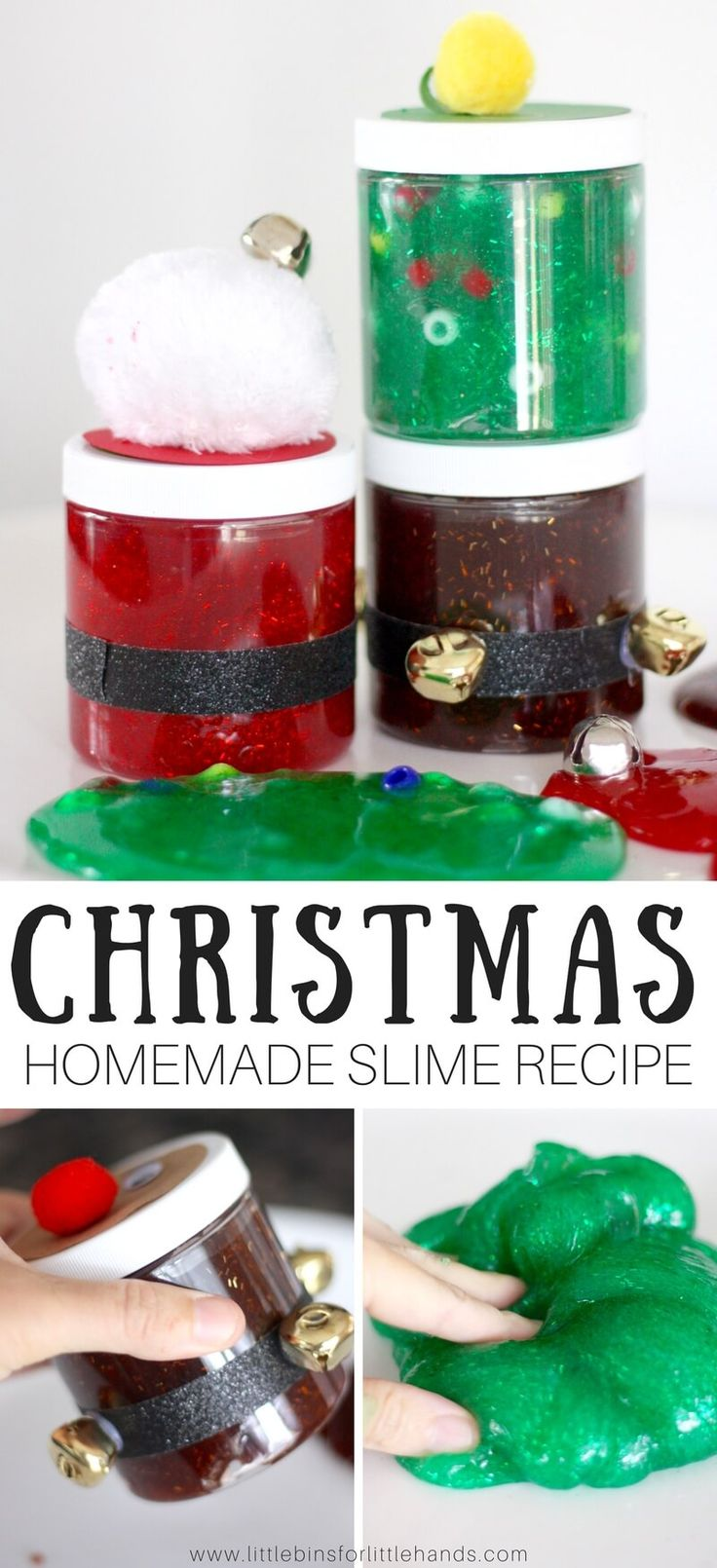 Tis the season to get creative with slime, and we are up to our elbows in slime over here doing just that! This time around we have been decorating our slime containers with festive Christmas themes. Our easy homemade Christmas slime recipes will fill your jars with awesome slime every time. Add your own fun holiday themes or try ours. Santa slime, reindeer slime, and Christmas tree slime are a hit! #slime #slimerecipe #christmasslime #DIYslime #homemadeslime