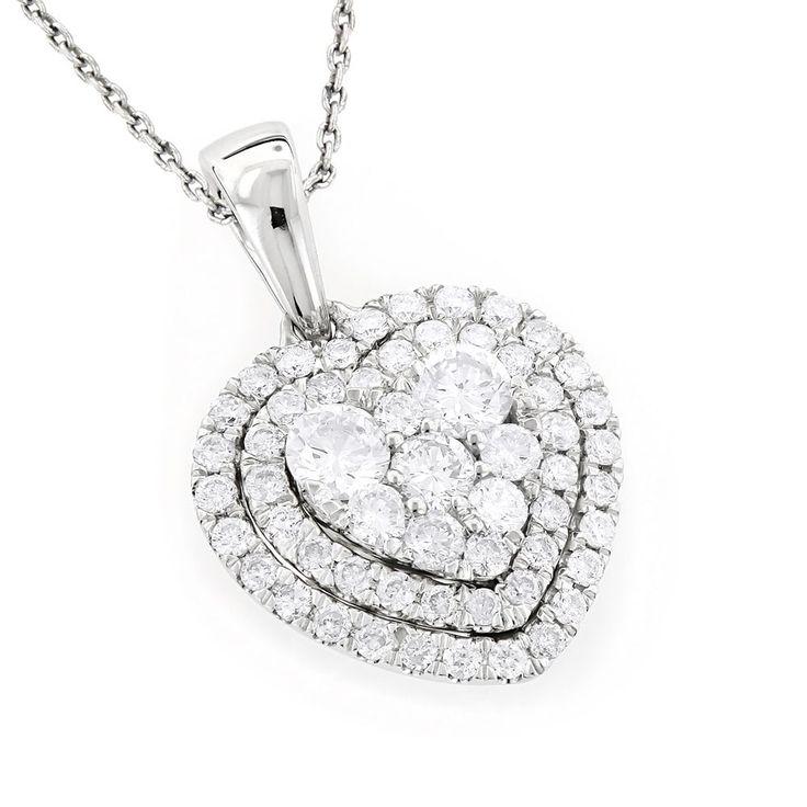 Luxurman 14k Gold 1ct Diamond Heart Pendant For Women Cluster Design