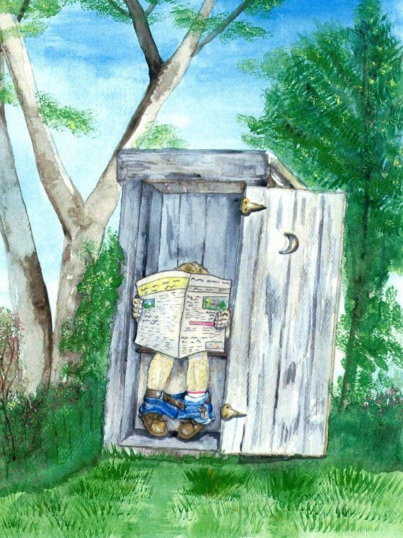 Outhouse Watercolor Print Bathroom Art Occupied Outdoor Art