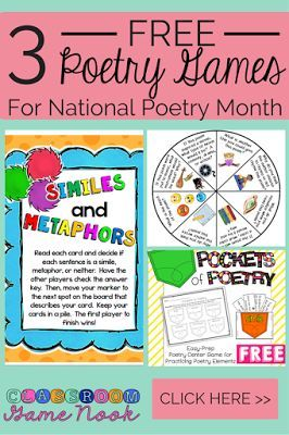 3 FREE poetry games from The Classroom Game Nook.  These work great for your literacy centers this month during National Poetry Month (http://www.classroomgamenook.blogspot.com)