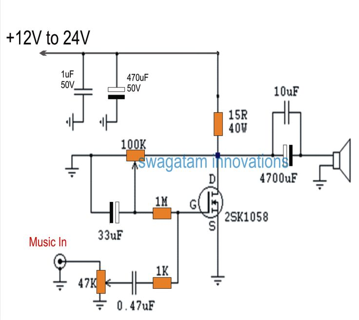 Single Mosfet Class A Power Amplifier Circuit | Electronic Circuit Projects