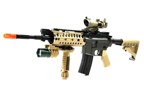 """NEW PATRIOT JG M4 S-System AEG Rifle """"Desert Warrior"""" RAS CUSTOM PACKAGE w/ CombatOptix Red/Green Dot Scope, Tactical Xenon Foregrip Flashlight, and Bungee Sling"""