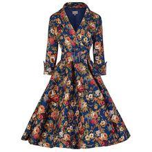mujer otoño invierno Vintage Floral Print Casual elegante con cinturón Retro 50 s Rockabilly Party vestidos Swing