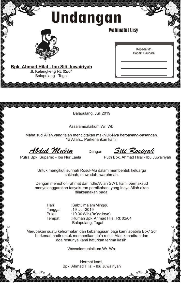 Undangan walimatul ursy siti rosiyah Undangan, Contoh