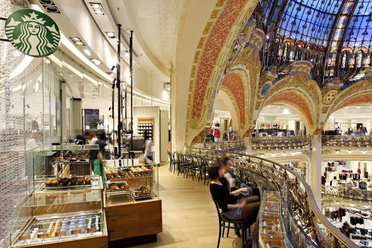 Paris Galeries Lafayette Bar With Customers