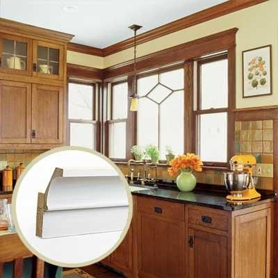 109 best images about crown molding over cabinets on for Craftsman style molding photos